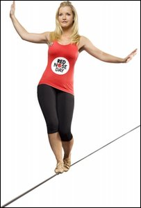 Helen Skelton who is going to walk a tightrope between two chimneys, 66 metres in the air, to raise money for Comic Relief