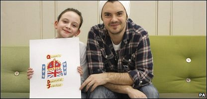 Katherine with Blue Peter presenter Barney Harwood and her winning emblem design for the Queen's official 2012 Diamond Jubilee