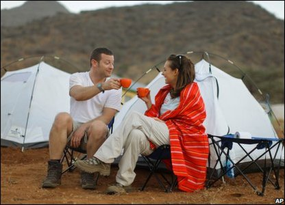 Dermot O'Leary and Kara Tointon ahead of the Red Nose Desert Trek for Comic Relief.
