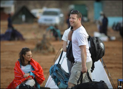 Dermot O'Leary getting ready for Red Nose Desert Trek for Comic Relief
