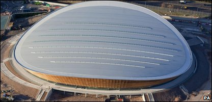 An aerial shot of the Olympic velodrome at the Olympic Park in east London