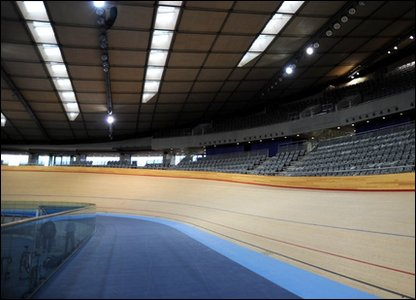 Track inside the completed velodrome for the London 2012 Olympic and Paralympic Games