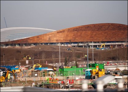 Outside the completed velodrome for the London 2012 Olympic and Paralympic Games