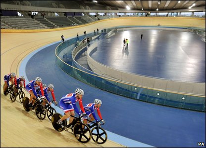 Inside the completed velodrome for the London 2012 Olympic and Paralympic Games