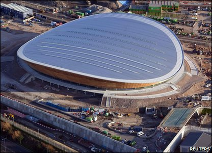 Aerial view of the completed velodrome for the London 2012 Olympic and Paralympic Games