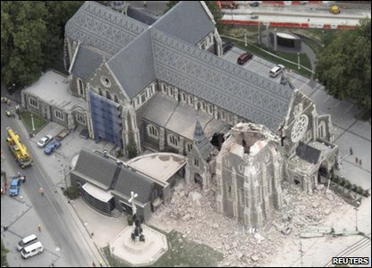 An aerial shot of the damaged cathedral after an earthquake in central Christchurch