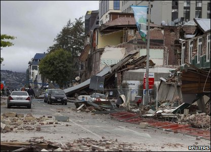 A street in Christchurch, New Zealand, showing the damage caused by the earthquake