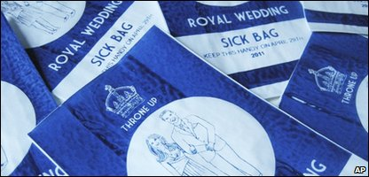 The sick bags created by artist Lydia Leith to mark Prince William and Kate Middletons' Royal wedding