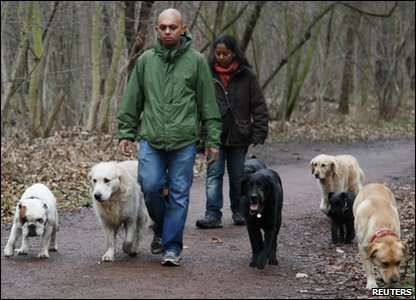 Stan Burun, a dog behaviour specialist, and his wife Devi walking with their dog guests in the woods in Vincennes near Paris, France