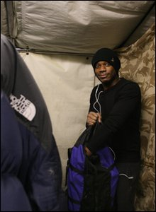 Ore in tent