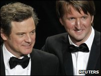 Colin Firth, who won the best actor Oscar for his portrayal of King George VI in The King's Speech, and Tom Hooper, who won best director for the same film