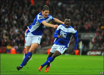 Birmingham City's Obafemi Martins celebrates scoring the winner during the Carling Cup final at Wembley Stadium, London