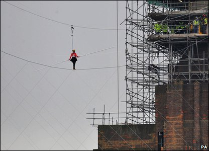 Helen Skelton on the high wire