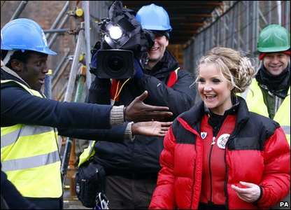 Helen Skelton celebrates completing her high wire challenge