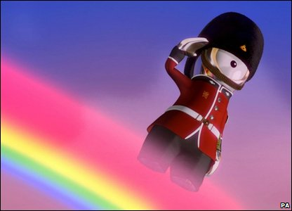 A still from the new cartoon film Adventures on a Rainbow, of a Queen's Guard, written by children's author Michael Morpurgo