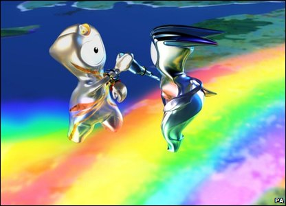 A cartoon image of Wenlock and Mandeville in a new children's cartoon about the London 2012 Olympic mascots, called Adventures On A Rainbow