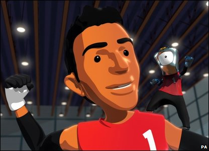 A cartoon image of wheelchair rugby player Mandip Sehmi in a new children's cartoon about the London 2012 Olympic mascots, called Adventures On A Rainbow