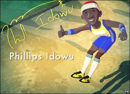 A cartoon image of world triple jump champion Philips Idowu, which appears in a new children's cartoon about the London 2012 Olympic mascots, called Adventures On A Rainbow