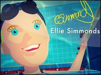 A cartoon image of Paralympic swimming champion Ellie Simmonds in a new children's cartoon about the London 2012 Olympic mascots, called Adventures On A Rainbow