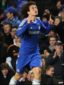 Chelsea player David Luiz celebrates scoring against Manchester United during their English Premier League match at Stamford Bridge