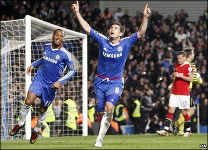 Chelsea player Frank Lampard (centre) celebrates scoring his team's second goal against Manchester United during the Premier League match at Stamford Bridge
