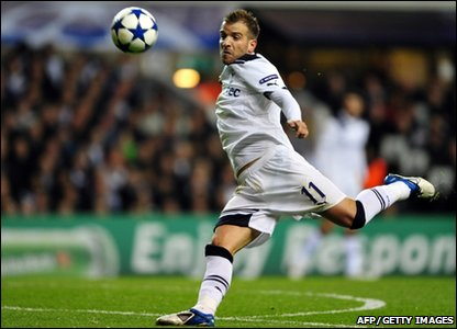 Tottenham Hotspur's midfielder Rafael van der Vaart eyes the ball during their UEFA Champions League second leg match against AC Milan at White Hart Lane