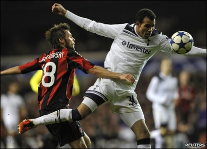 Tottenham Hotspur player Sandro (right) is tackled by AC Milan's Marek Jankulovski during their Champions League match at White Hart Lane