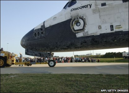 The Space Shuttle Discovery after landing at the Kennedy Space Centre in Florida