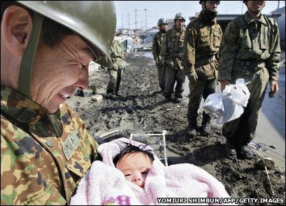 A baby that survived the earthquake in Ishinomaki city