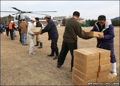 Emegency aid is handed out in Onagawa town