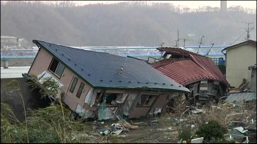 Houses destroyed by the tsunami