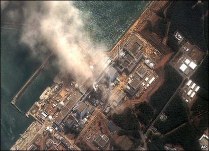 Aerial shot of damaged Fukushima power station