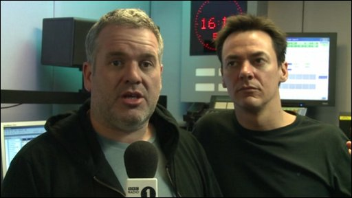 Radio 1 DJs Chris Moyles and Comedy Dave