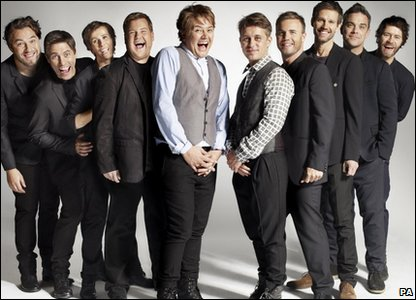 Fake That: (L-R) David Walliams, John Bishop, Catherine Tate, James Corden, and Alan Carr, and the real Take That (L-R) Mark Owen, Gary Barlow, Jason Orange, Robbie Williams and Howard Donald