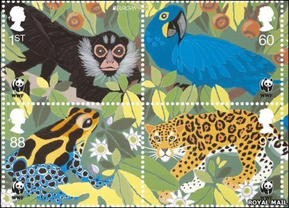 Amazon stamps featuring a spider monkey, a hyacinth macaw, poison dart frog and a jaguar.