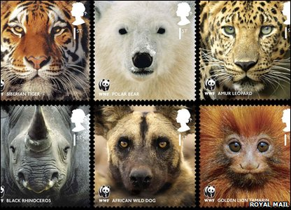 Stamps of the Siberian tiger, polar bear, amur leopard, black rhino, African wild dog and golden lion tamarin