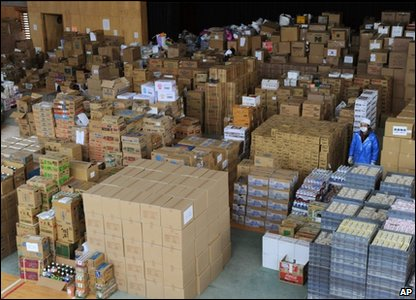 Aid is stockpiled in Japan