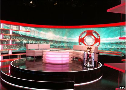 An empty Match of the Day studio and the Premier League trophy