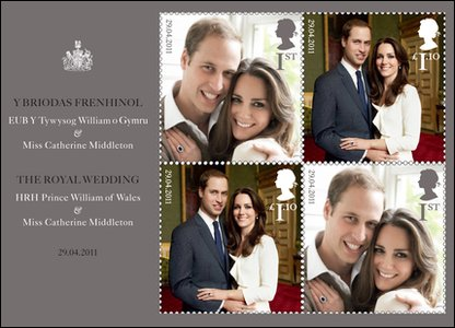 Stamps being released to celebrate the royal wedding between Prince William and Kate Middleton