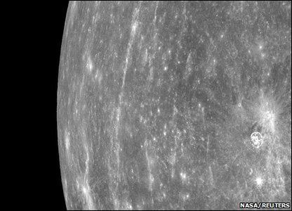 Mercury photographed by spacecraft Messenger - the first ever to take images while in orbit around the planet