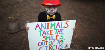 Four-year-old Gabriel Ryan takes part in a protest outside Bobby Roberts Circus on Knutsford Common