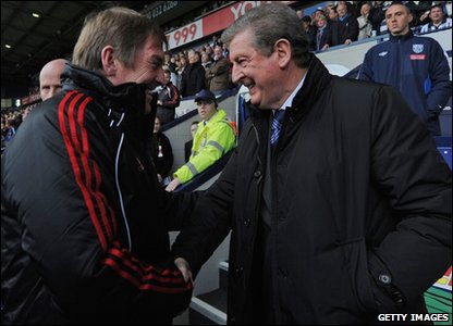 West Bromwich managed a 2-1 victory over Liverpool making manager Roy Hodgson very happy, as he used to manage Liverpool before he was sacked!