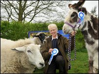 Dotty the donkey with owner Ann Rogers and Stanley the sheep. Picture from PDSA