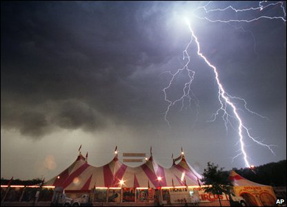 Thunderstorm over a circus ground