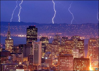 Lightning storm over San Francisco