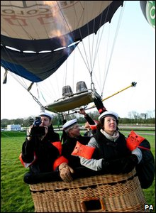 Balloon crew prepare for take-off
