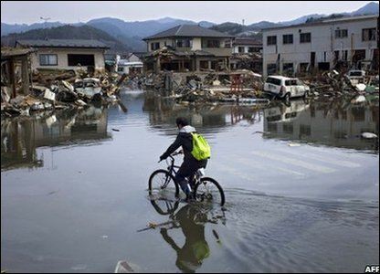 Man cycles in Kesennuma