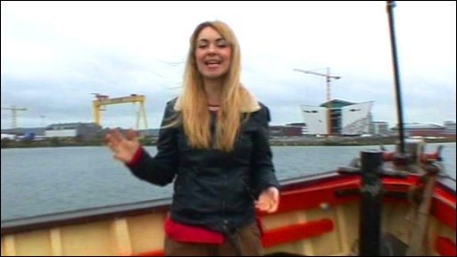 Hayley in Belfast where the Titanic first set sail in 1911