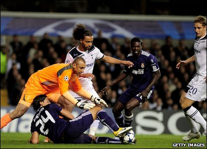 Tottenham Hotspur and Real Madrid players try to get posession of the ball at the Champions League quarter-finals at White Hart Lane