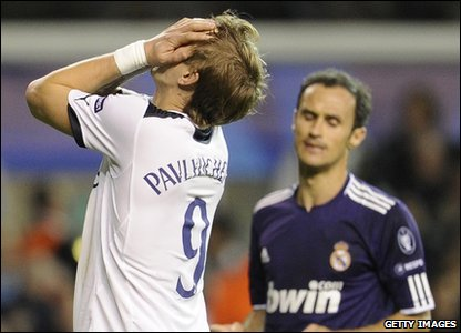 Tottenham Hotspur player Roman Pavlyuchenko reacts to missing a goal at the Champions League quarter-finals at White Hart Lane